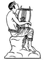 Орфей, играющий на лире. Рисунок с греческой вазы. V в. до н.э.