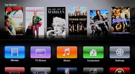 Интерфейс медиаплеера Apple TV