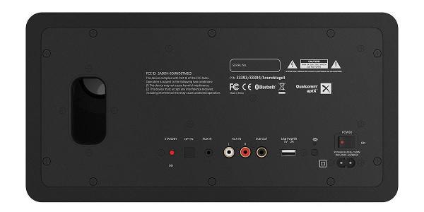 Soundstage3 имеет больше разъемов, чем другие модели в нашем обзоре: аналоговые входы (3,5 мм и RCA), оптический цифровой вход, выход на сабвуфер и зарядный порт USB для мобильных устройств